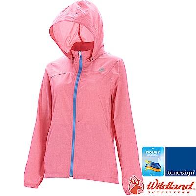 Wildland 荒野 0A71907-22蜜粉紅 女可溶紗環保吸排外套