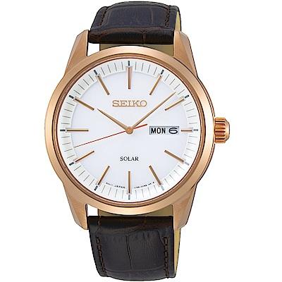 SEIKO精工經典俐落太陽能手錶(SNE530P1)-白