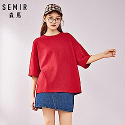 SEMIR森馬-寬鬆版型後印花短袖T恤-女