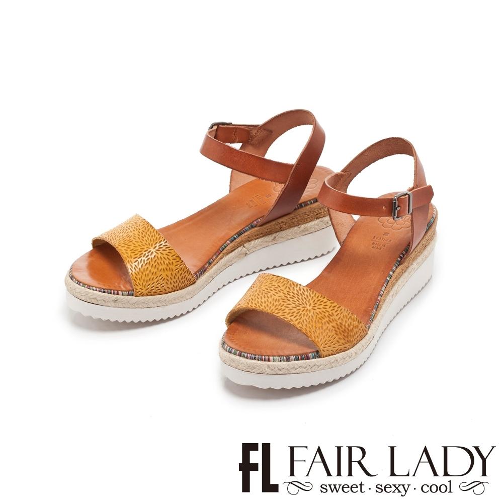 FAIR LADY PORRONET 皮革壓紋一字楔型厚底涼鞋 土黃