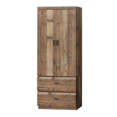 綠活居 菲卡2.5尺二門二抽衣櫃/收納櫃(三色可選)-75x54x184cm免組