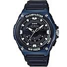 CASIO經典簡約立體三針三眼指針休閒錶-黑面x藍框(MWC-100H-2)/46.7mm