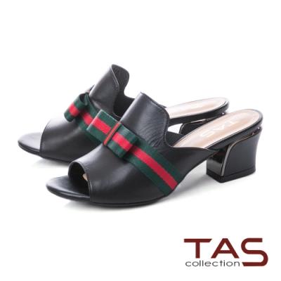 TAS 蝴蝶結繫帶質感素面粗跟涼拖鞋-時尚黑