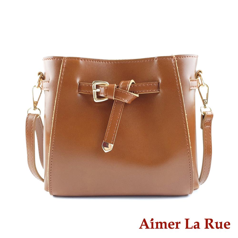 Aimer La Rue 設計都市感綁結皮帶扣側背斜背包(二色)