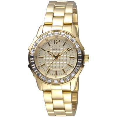 GUESS 浮誇閃耀晶鑽金色手錶-全IP金-GWW0018L2-36mm