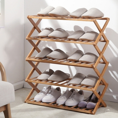 家可 70CM加長款五層竹製鞋架(原木色) 置物架 收納架 竹鞋架 鞋櫃