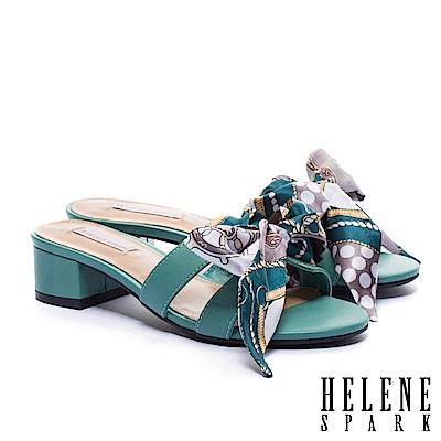 拖鞋 HELENE SPARK 義式優雅兩穿印花緞布羊皮粗低跟拖鞋-綠