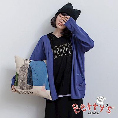 betty's貝蒂思 開襟蝴蝶結口袋針織罩衫(深藍)