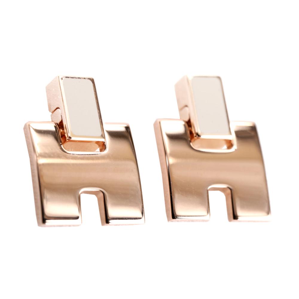 HERMES Eileen H 經典圓弧設計耳環(冰栗白x玫瑰金)