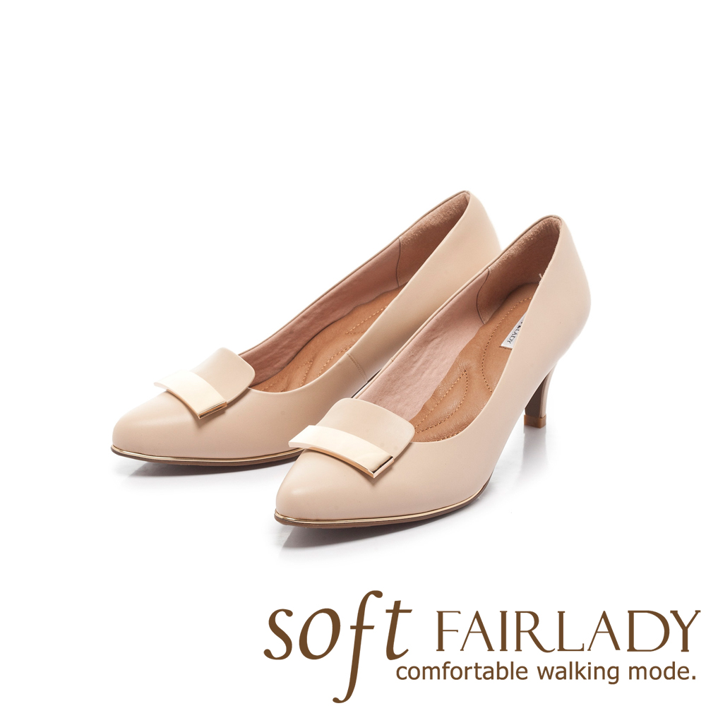 Fair Lady Soft芯太軟 方形拼接金屬扣飾高跟鞋 卡其