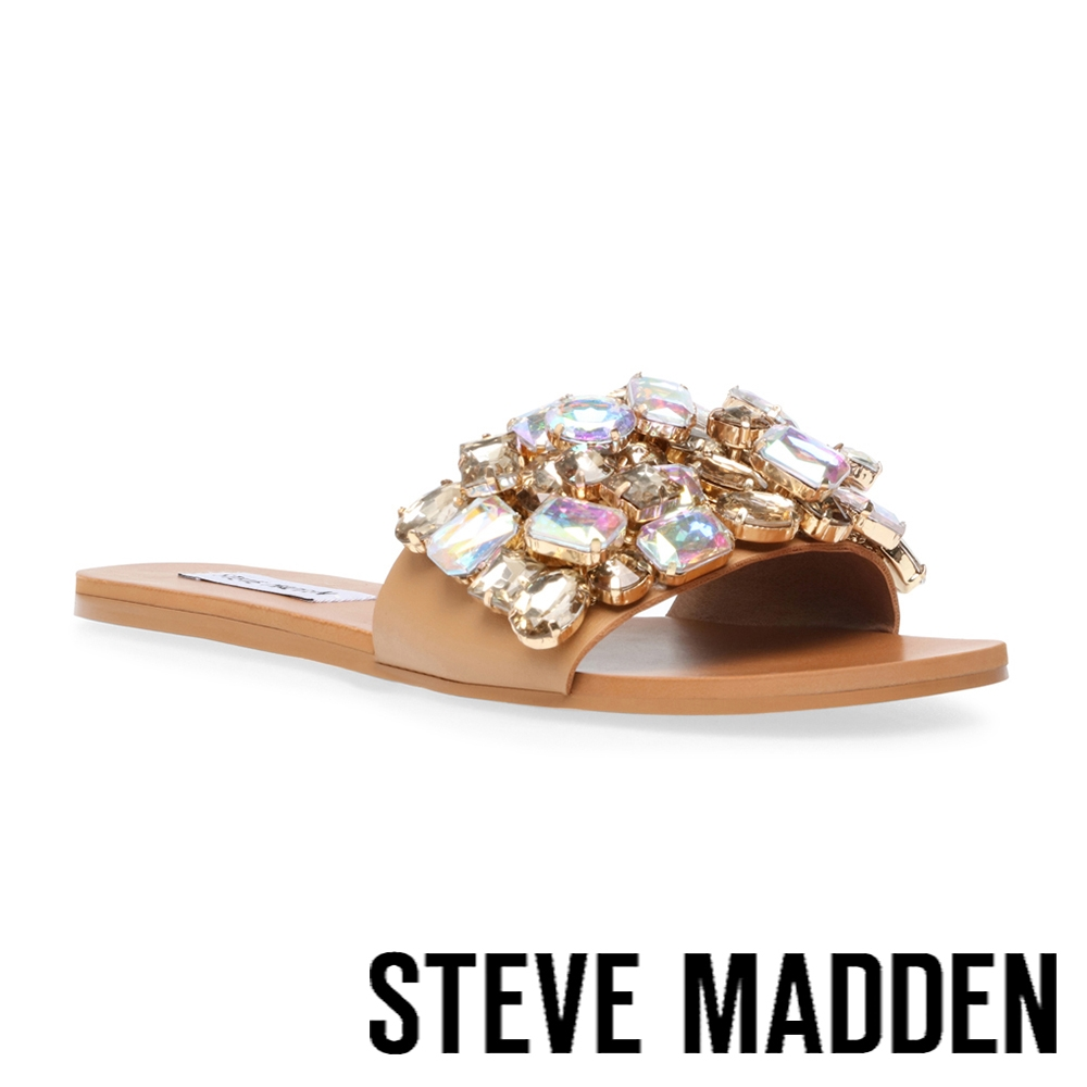 STEVE MADDEN-BRIELLE 鑽飾平底涼拖鞋-奶茶色