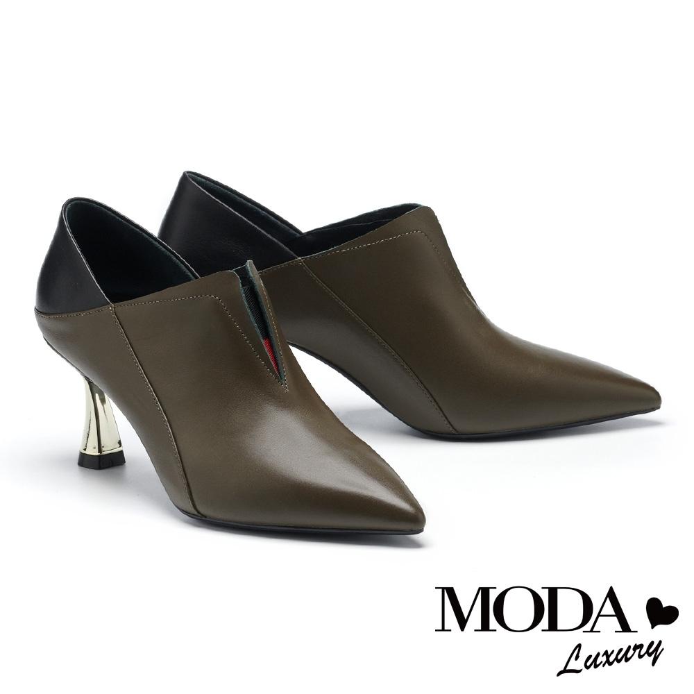 高跟鞋 MODA Luxury 內斂品格拼接牛皮尖頭造型高跟鞋-綠