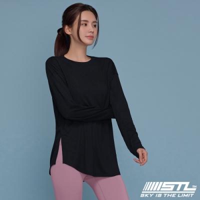 STL yoga MONO Overfit Long 韓國瑜珈 運動機能 莫代爾棉柔 長版落肩蓋臀長袖上衣 黑