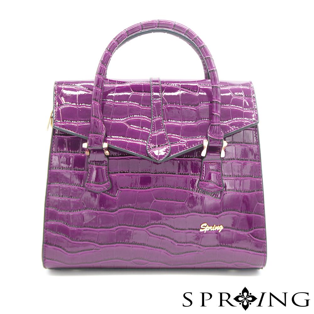 SPRING-燦爛的月光鱷魚壓紋托特包-奢華紫