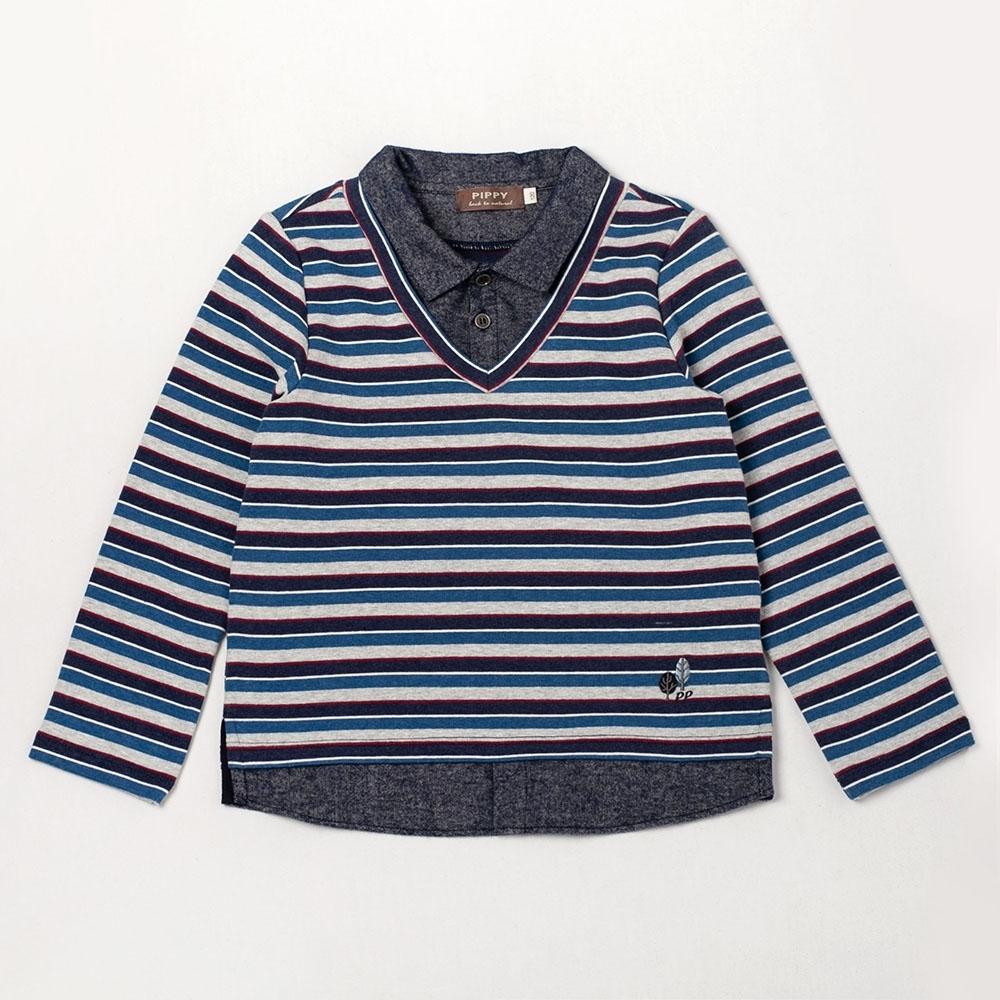 PIPPY 翻領條紋假兩件上衣 藍