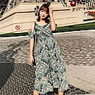 AH dream夢想女孩 綠色波西米亞蝴蝶結露背洋裝C6216