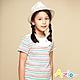 Azio Kids 女童 上衣 領口白色荷葉造型彩色橫條紋短袖上衣(彩條) product thumbnail 1