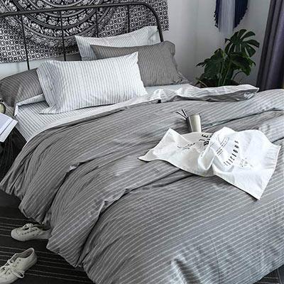 BUNNY LIFE 拾光灰-加大-北歐都會精梳純棉床包被套組