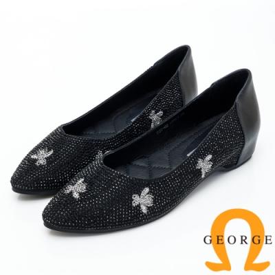 【GEORGE 喬治皮鞋】花瓣水鑽尖頭平底娃娃鞋-黑色