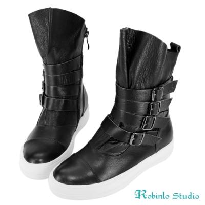 Robinlo 牛皮方扣繫帶平底中靴 黑色
