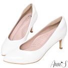 Ann'S魔術軟漆V口顯瘦低跟尖頭包鞋-白