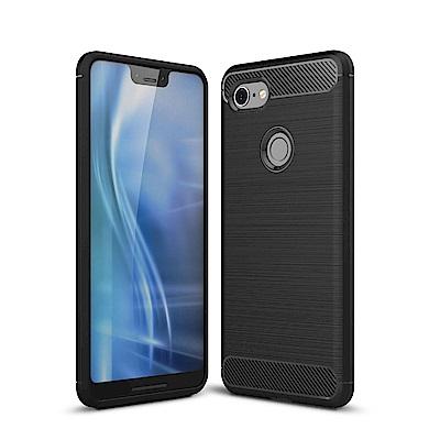 PKG Google Pixel3 XL 手機殼-時尚碳纖紋路+抗指紋-精緻黑