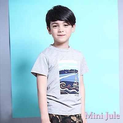 Mini Jule 上衣 海浪帆船風景圖樣短袖T恤(灰)