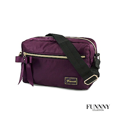 FUNNNY 日本同步輕量尼龍斜背包系列 香月 千結 紫