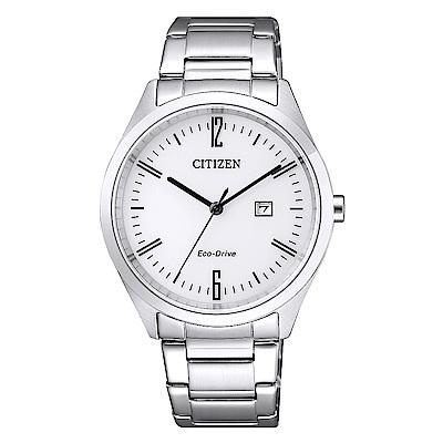 CITIZEN星辰光動能簡約時尚手錶(EW2450-84A)-銀/34mm