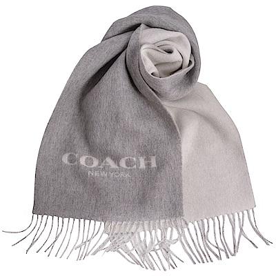 COACH 經典LOGO羊毛羊絨流蘇式圍巾-雅典灰COACH