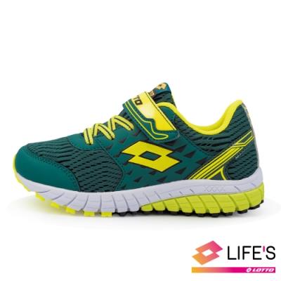 LOTTO 義大利 童 雙色動力  雙密度避震跑鞋 (軍綠)