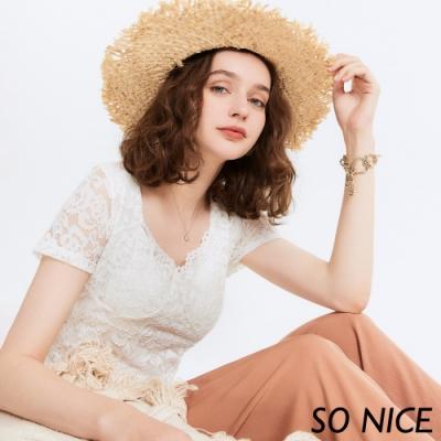 SO NICE唯美造型領口車骨蕾絲上衣