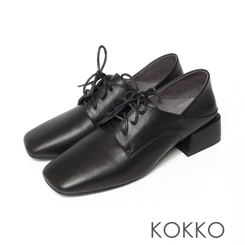 KOKKO大方頭牛皮綁帶可後踩方塊粗跟鞋霧面黑色