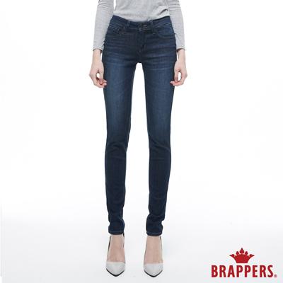 BRAPPERS 女款 新美腳ROYAL系列-中低腰彈性W刺繡鑲鑽窄管褲-藍--動態show