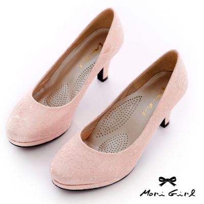 Mori girl MIT台灣製細緻蕾絲氣墊婚鞋 粉
