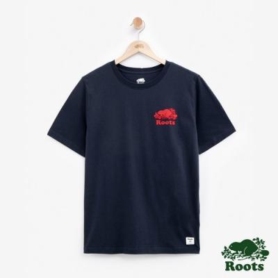 男裝Roots- 左胸立體轉印短袖T恤-藍