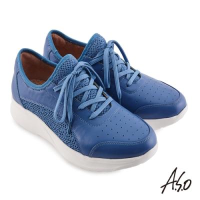 A.S.O 機能休閒 輕量抗震牛皮/網布綁帶休閒鞋-藍