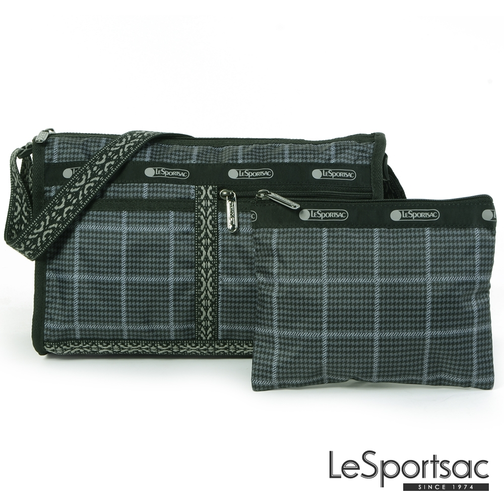 LeSportsac - Standard雙口袋斜背包-附化妝包(冬季格紋)