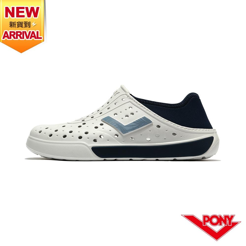 【PONY】ENJOY洞洞鞋 踩後跟 雨鞋 水鞋 中性款-基本色/白深藍