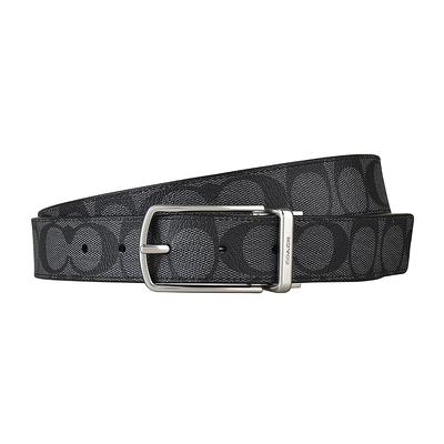 COACH SKINNY壓印LOGO滿版大C設計釦式皮帶(炭灰/銀釦)