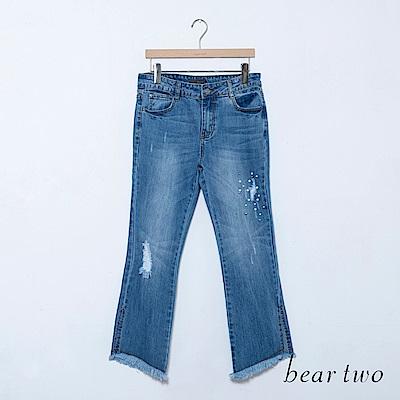 beartwo 水洗刷破珍珠造型牛仔褲(二色)