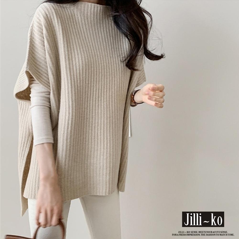 JILLI-KO 薄毛呢針織披肩背心- 杏/灰/卡