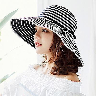 幸福揚邑 夏日浪漫條紋大帽檐抗UV防紫外線可摺疊遮陽帽-黑