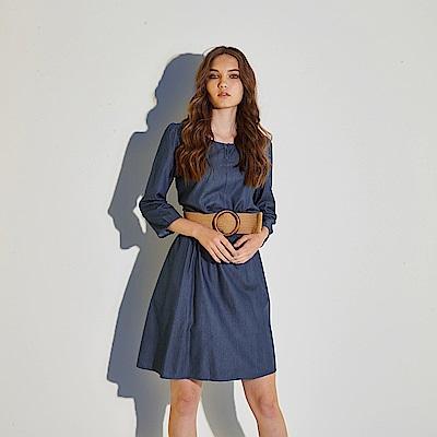 Chaber巧帛 無印簡約風百搭牛仔丹寧造型洋裝-深藍(兩色)