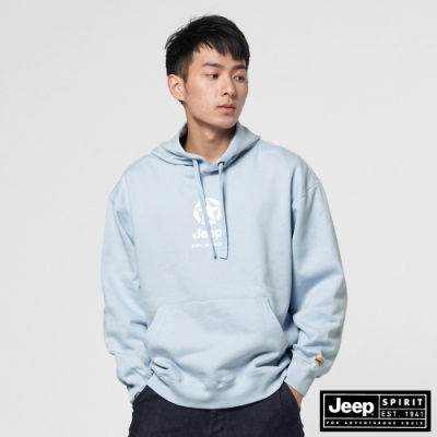 Jeep 男裝 休閒 LOGO長袖連帽T恤-淺藍色