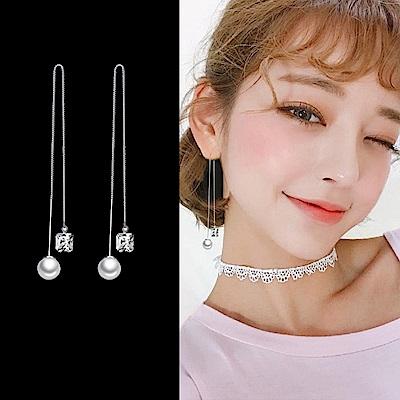 梨花HaNA 韓國925銀微光方鑽珍珠耳線耳環