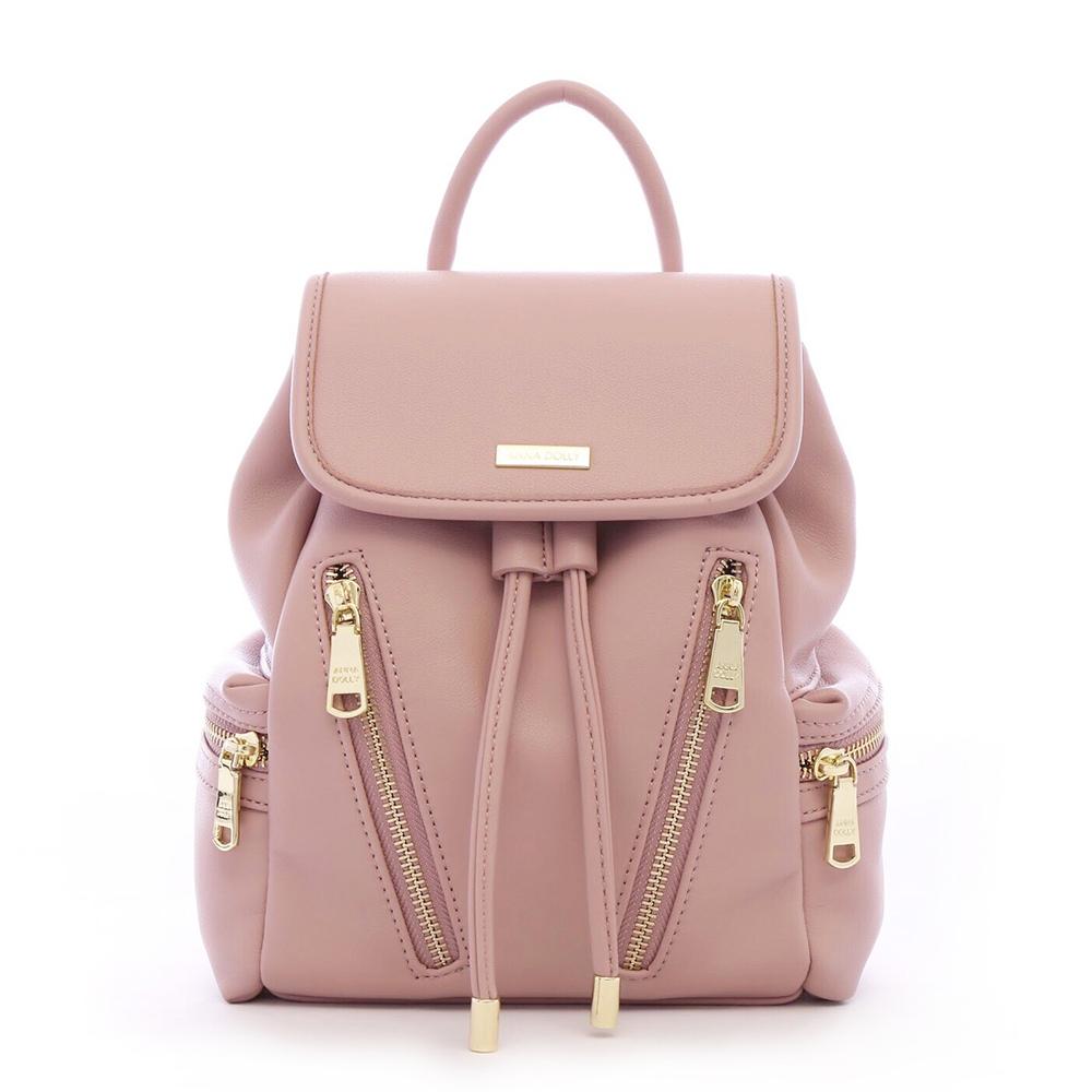 ANNA DOLLY 拉鍊造型兩用後背包 乾燥玫瑰 @ Y!購物
