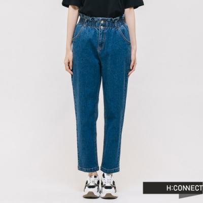 H:CONNECT 韓國品牌 女裝 - 花苞褲頭高腰直筒牛仔褲 - 藍