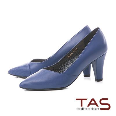 TAS曲線壓紋V口真皮尖頭粗跟鞋-注目藍