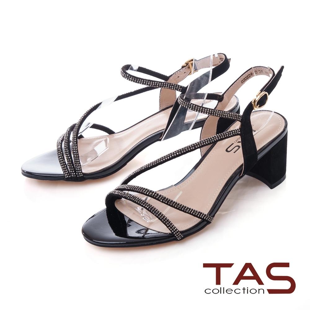 TAS水鑽繫帶繞踝飾釦粗跟涼鞋-女神黑